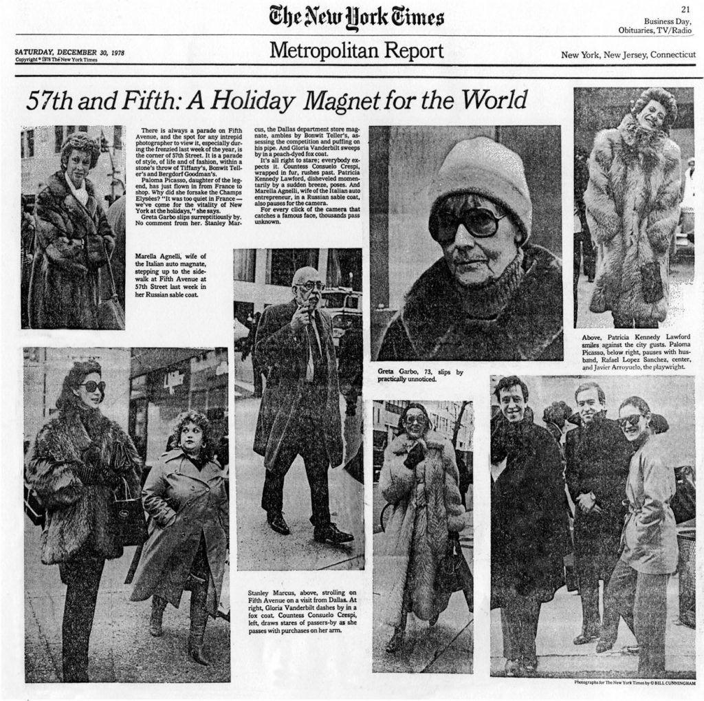 La primera publicación de Bill Cunningham en The New York Times.