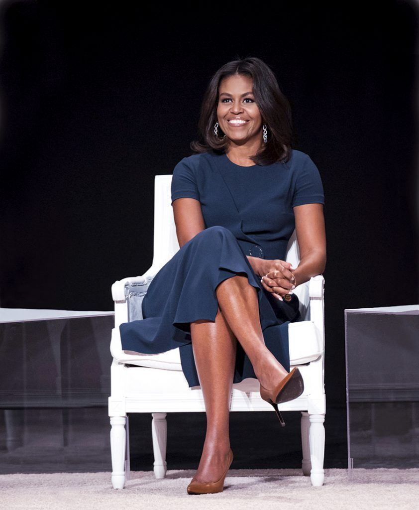 """NEW YORK, NY - SEPTEMBER 29: First Lady of the United States Michelle Obama joins the """"Let Girls Learn"""" Global Conversation at The Apollo Theater on September 29, 2015 in New York City. (Photo by Dave Kotinsky/Getty Images for Global Goals)"""