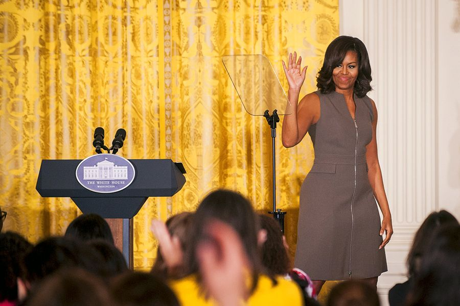 """WASHINGTON, DC - March 15: First lady Michelle Obama departs after speaking to leading parenting bloggers, online influencers, and content creators March 15, 2016 in the East Room of the White House in Washington D.C. The first lady hosted an event attended by about 150 people addressing the health of the nation's kids as part of the """"Let's Move!"""" initiative. (Photo by Pete Marovich/Getty Images)"""