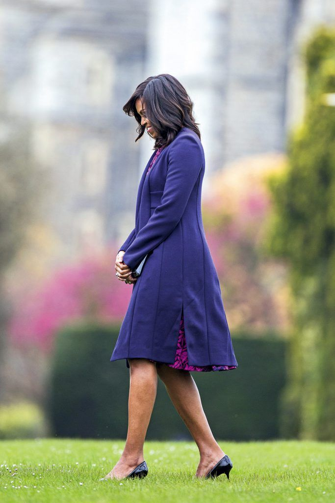 WINDSOR, ENGLAND - APRIL 22: First Lady Michelle Obama arrives at Windsor Castle for a private lunch with Queen Elizabeth II and Prince Phillip, Duke of Edinburgh on April 22, 2016 in Windsor, England. The President and his wife are currently on a brief visit to the UK where they will have lunch with HM Queen Elizabeth II at Windsor Castle and dinner with Prince William and his wife Catherine, Duchess of Cambridge at Kensington Palace. Mr Obama will visit 10 Downing Street on Friday afternoon where he is to hold a joint press conference with British Prime Minister David Cameron and is expected to make his case for the UK to remain inside the European Union. (Photo by Jack Hill - WPA Pool/Getty Images)