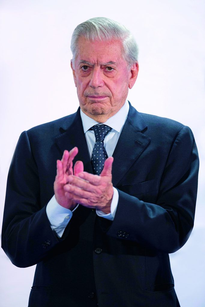 MADRID, SPAIN - JUNE 09:  Nobel prize-winning writer Mario Vargas Llosa claps as he attends the 7th edition of the 'Catedra Real Madrid' Project at Santiago Bernabeu Stadium on June 9, 2015 in Madrid, Spain.  (Photo by Gonzalo Arroyo Moreno/Getty Images)