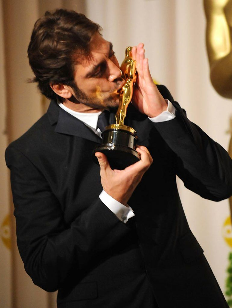 Actor Javier Bardem poses in the press room during the 80th Annual Academy Awards at the Kodak Theatre on February 24, 2008 in Los Angeles, California.