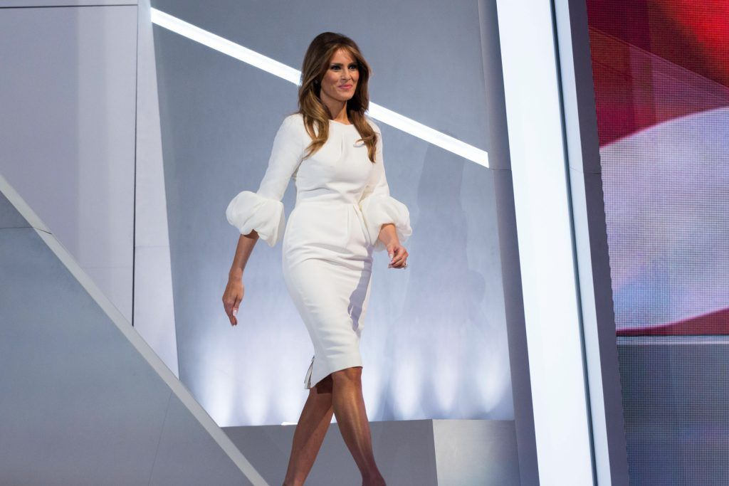 CLEVELAND, OH - JULY 18: Melania Trump,  wife of Republican presidential nominee Donald Trump,  arrives to speak on the first day of the Republican National Convention on July 18, 2016 at the Quicken Loans Arena in Cleveland, Ohio.  (Photo by Brooks Kraft/ Getty Images)