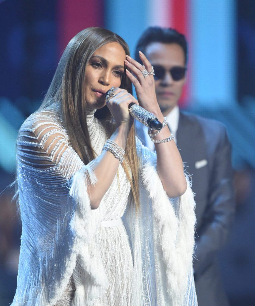 Jennifer Lopez (L) speaks near Singer Marc Anthony during the show of the 17th Annual Latin Grammy Awards on November 17, 2016, in Las Vegas, Nevada. / AFP / Valerie MACON (Photo credit should read VALERIE MACON/AFP/Getty Images)