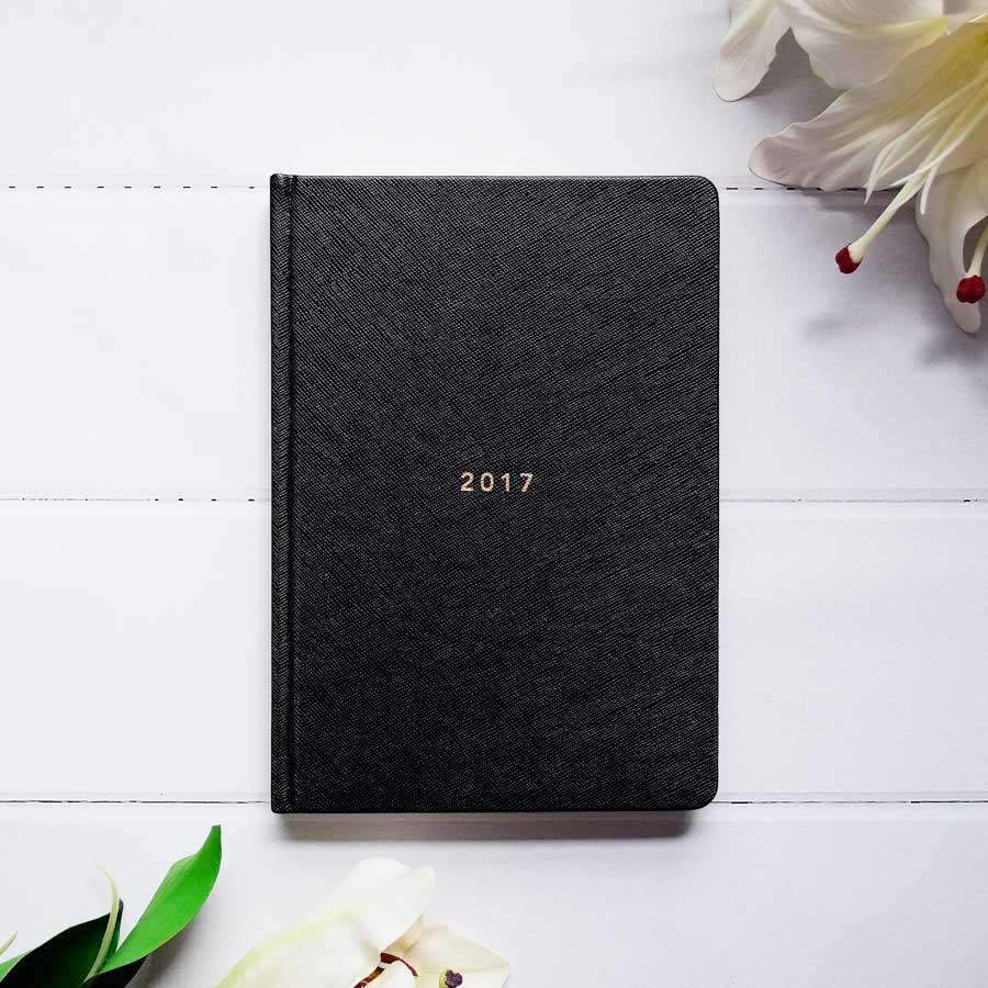 GD-17-HC-BLK-A5_2017_Goals_Diary_A5_-_Black_1_front