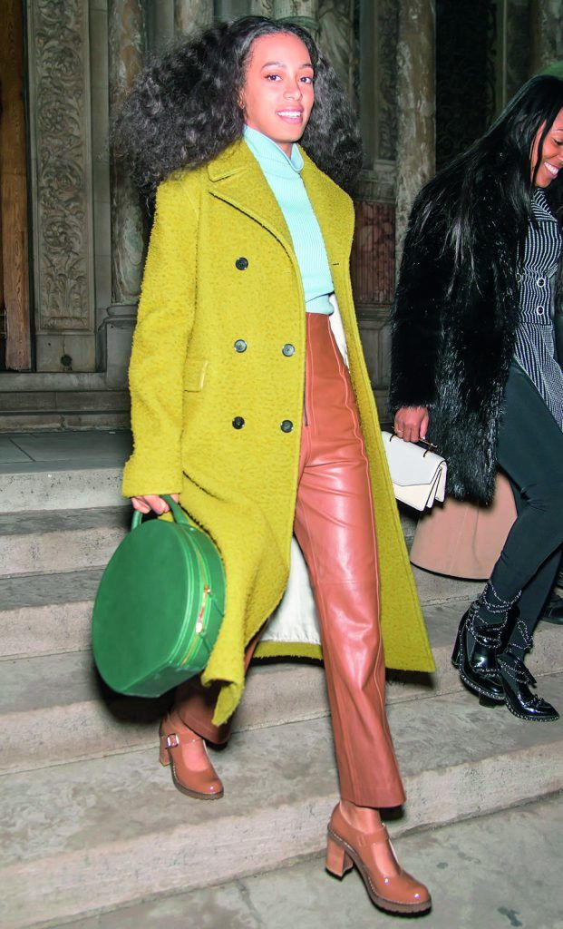 NEW YORK, NY - FEBRUARY 13:  Singer-songwriter Solange Knowles is seen outside the Alexander Wang Fall 2016 fashion show during New York Fashion Week at St. Bartholomew's Church on February 13, 2016 in New York City.  (Photo by Gilbert Carrasquillo/FilmMagic)
